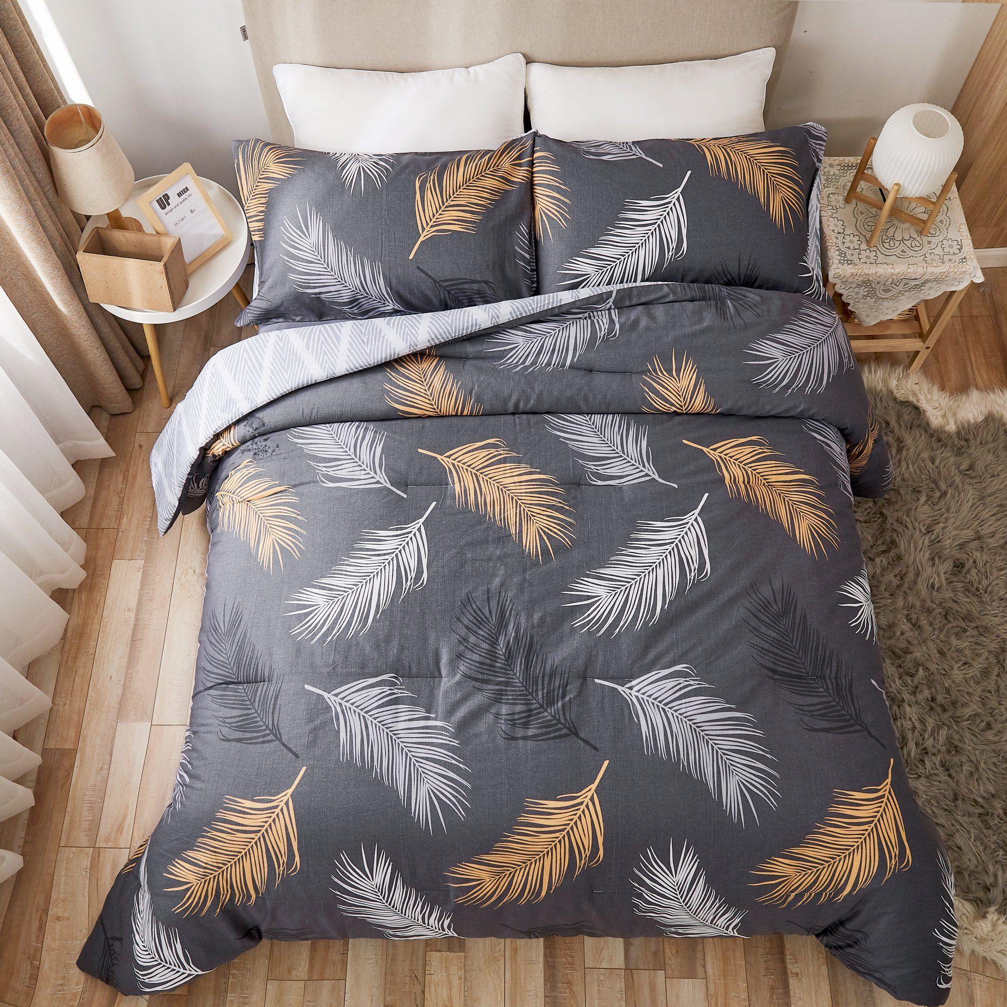 Peach Leaf 3 Piece Cotton Bedding Comforter Set Feather Pattern King Walmart Com In 2021 Comforter Sets King Size Comforters Duvet Bedding Sets