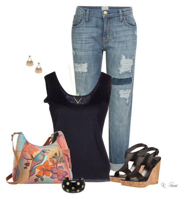 """""""Can you tell I like boyfriend jeans"""" by ksims-1 ❤ liked on Polyvore featuring Current/Elliott, Cruciani, Stuart Weitzman, Dorothy Perkins, Jennifer Zeuner, Anuschka and Chanel"""