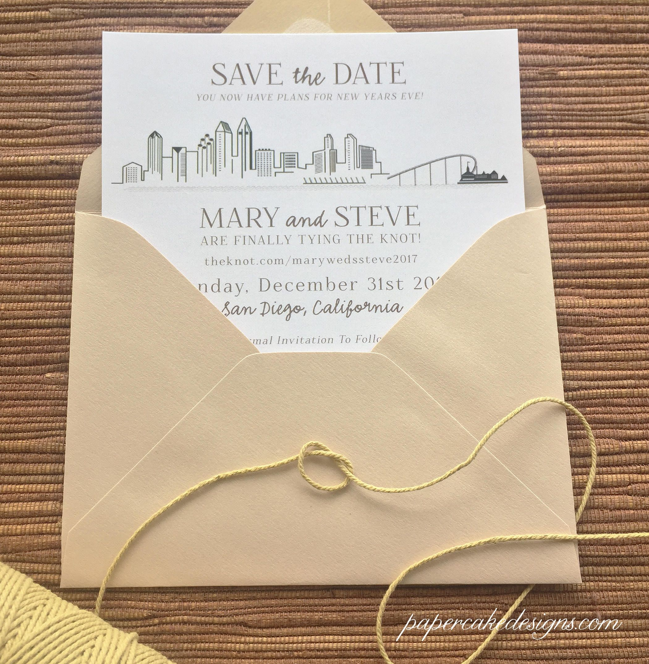cruise wedding save the date announcement%0A City Skyline Wedding Save The Date   Custom Design   San Francisco New York  Chicago Portland Seattle Boston San Diego