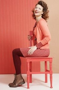 Pinks and corals with burgundy tights - very nice