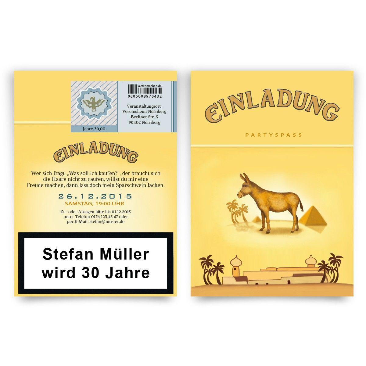 Einladungskarten Als Zigarettenschachtel #geburtstag #einladung  #geburtstagseinladung #zigaretten #donkey #camel #