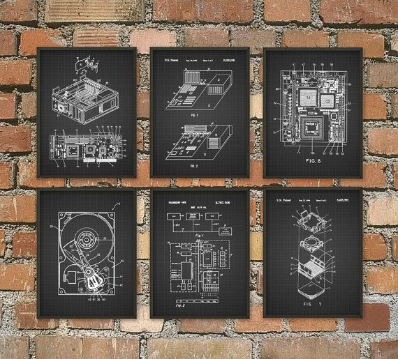 Computer Patent Wall Art Poster Set Of 6 Computer Room Home Decor It Student Gift Idea Hard Drive Motherboa Invention Patent Tesla Patents Nikola Tesla