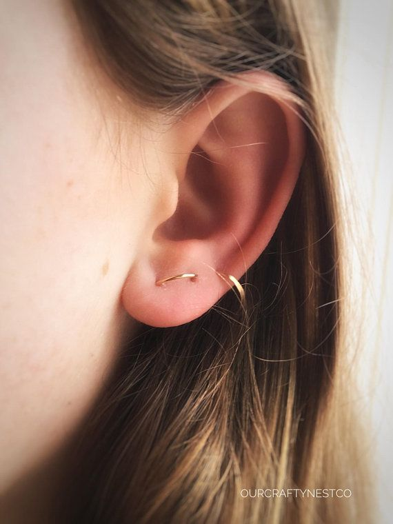 a5126f241 DOUBLE Piercing STUD, MULTIPLE piercing, Double Stud Earring, Two Hole Stud,  Gold Arch Stud, Double