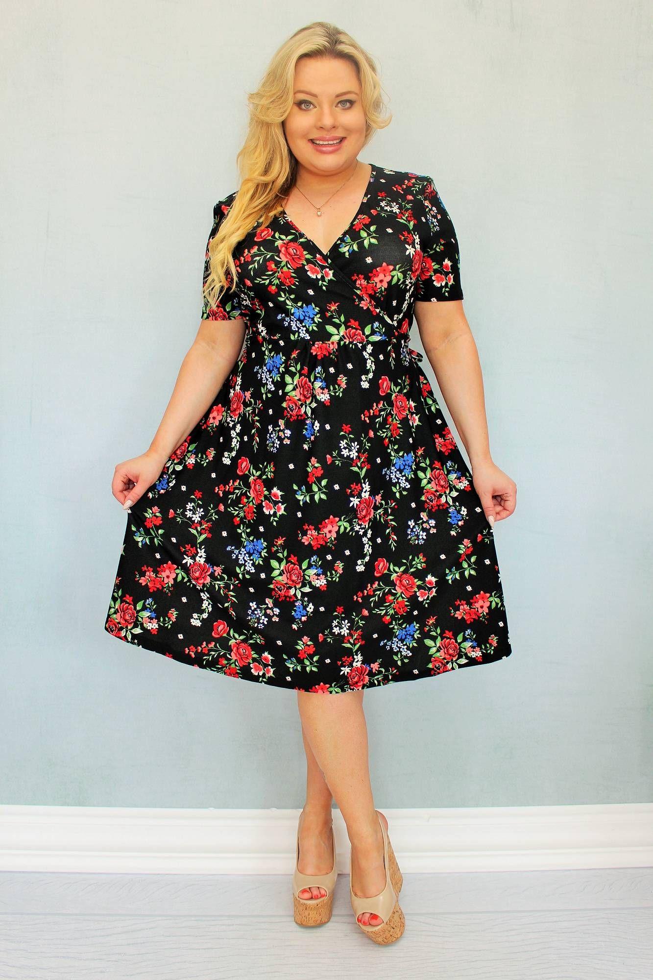 Sukienka Rebeka Kopertowa Dzianinowa Czarna W Kolorowe Kwiaty Sklep Internetowy Plus Size Dresses Fashion Casual