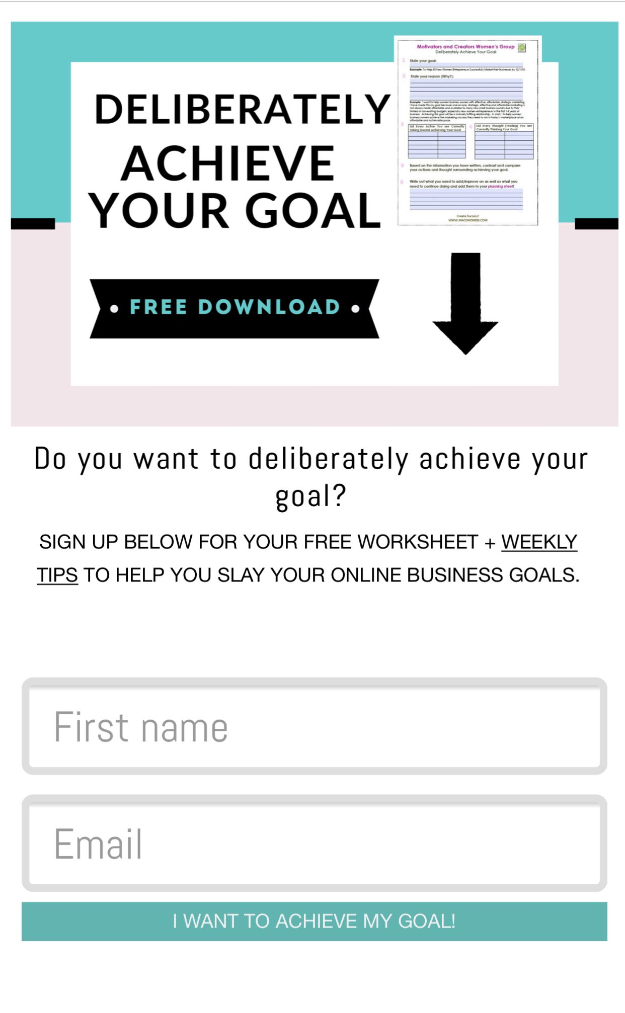 Free download to help you achieve your goals for your