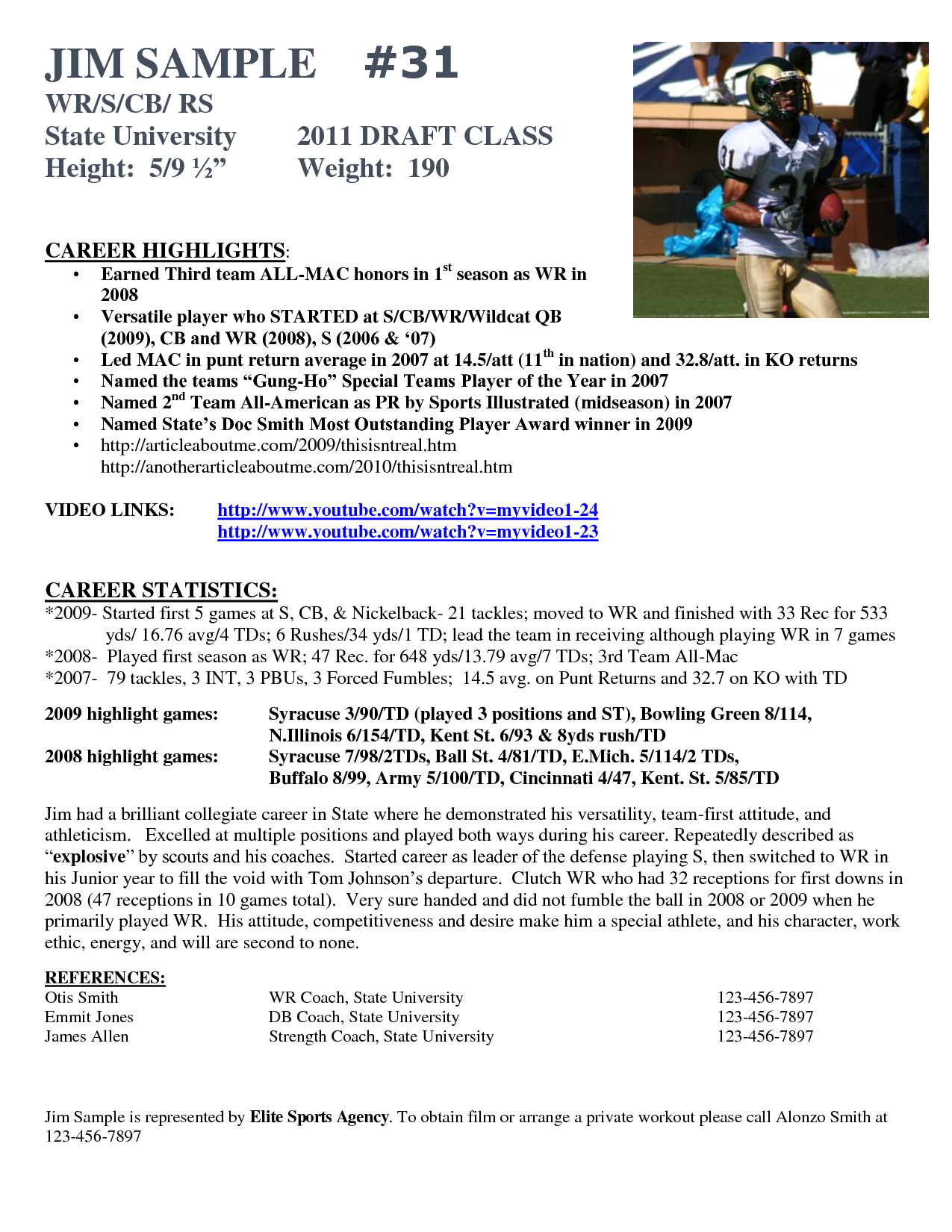 Resume Example Football Player Samples Soccer Coach Examples Sample - Free rush resume template