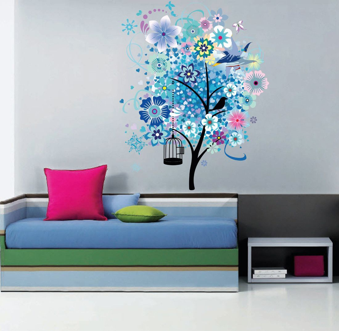 Cik full color wall decal wood bird cage butterfly flower