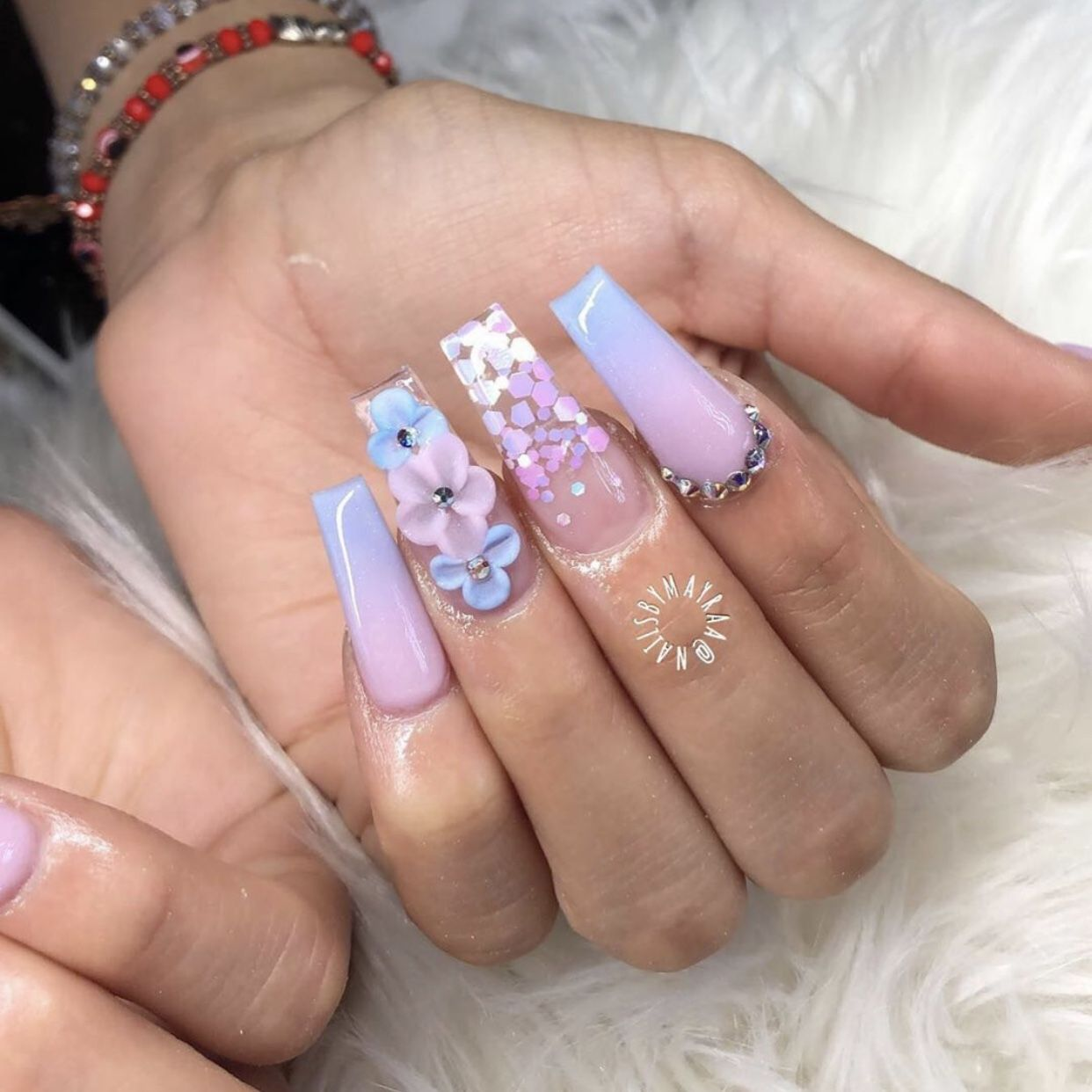 Pin By Titania Ly On Nail Inspo Summer Acrylic Nails Swag Nails 3d Flower Nails