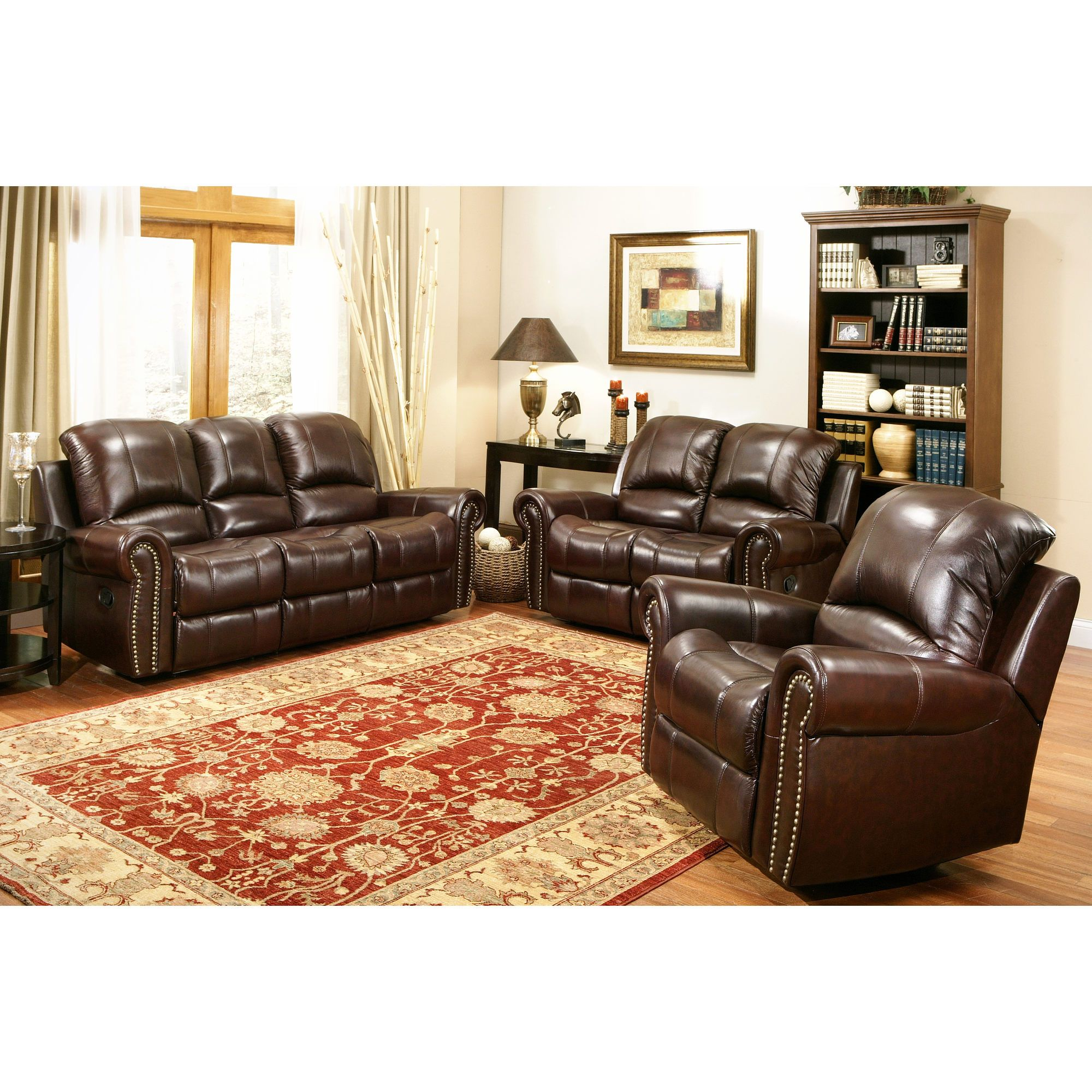 Great Abbyson Living Berkshire 3 Piece Leather Reclining Furniture Set   Burgundy