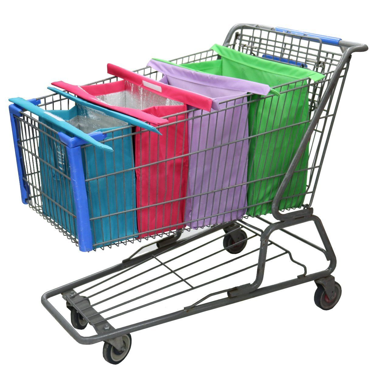 5230f9ad9 Amazon.com  Shopping Cart Trolley Bags by  Modern Day Living - 4 Reusable  Grocery Bags with Insulated Cooler Bag - Easy to Use and Heavy Duty - Eco  ...