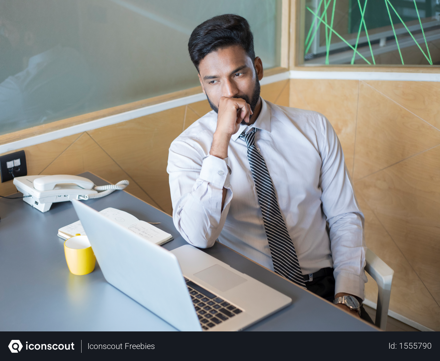 Free Indian Businessman Thinking Or Planning Something In Workplace Photo Download In Png Jpg Format Business Man Workplace How To Plan