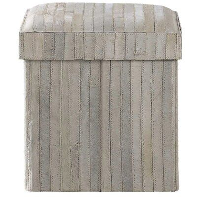 Kravet A lidded cow hides this Recherche Storage Striped Vanity Stool. The stool collapses flat and fits within its lid. With nylon easy to clean inner lining.