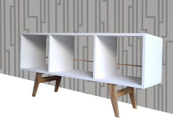 meuble vintage design tvhifi rangement vinyl 33 tours blanc mat
