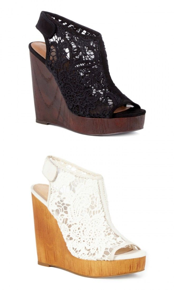 649d161f365 Stunning crochet platform wedges with a slingback Velcro strap and a wooden  wedge