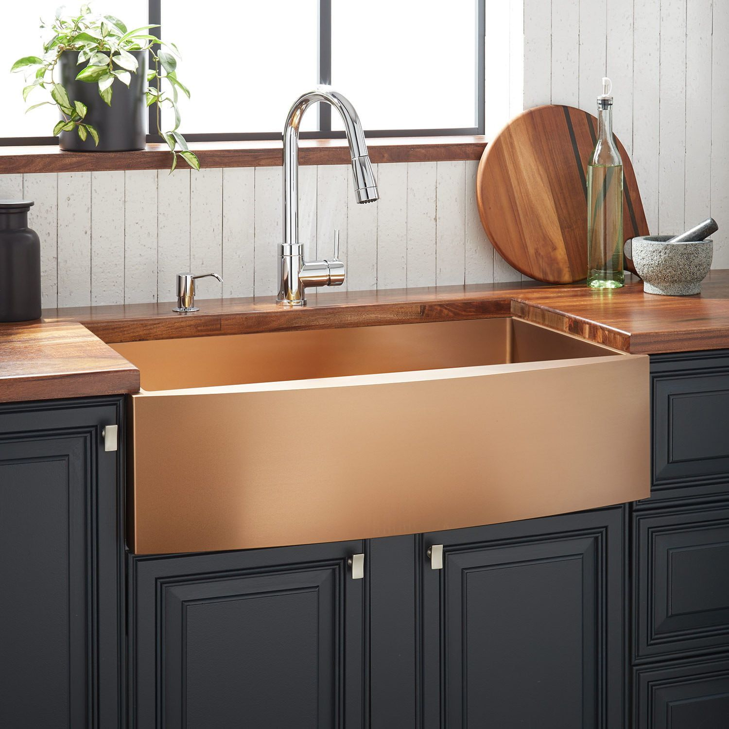30 Atlas Stainless Steel Farmhouse Sink In Curved Apron In Gunmetal Black Sign Stainless Steel Farmhouse Sink Farmhouse Sink Kitchen Sinks Kitchen Stainless