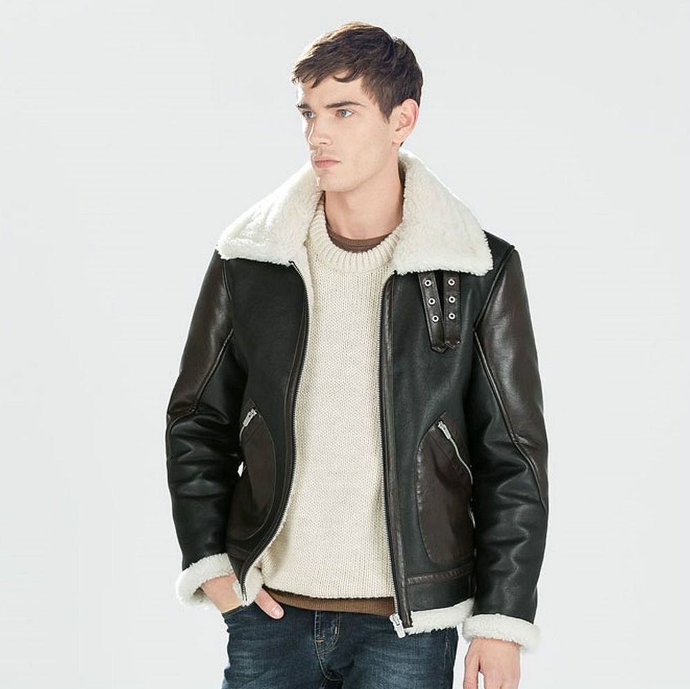 f15016e89c ZARA Man BNWT Brown Faux Shearling-Lined Faux Leather Aviator Jacket  0706/342