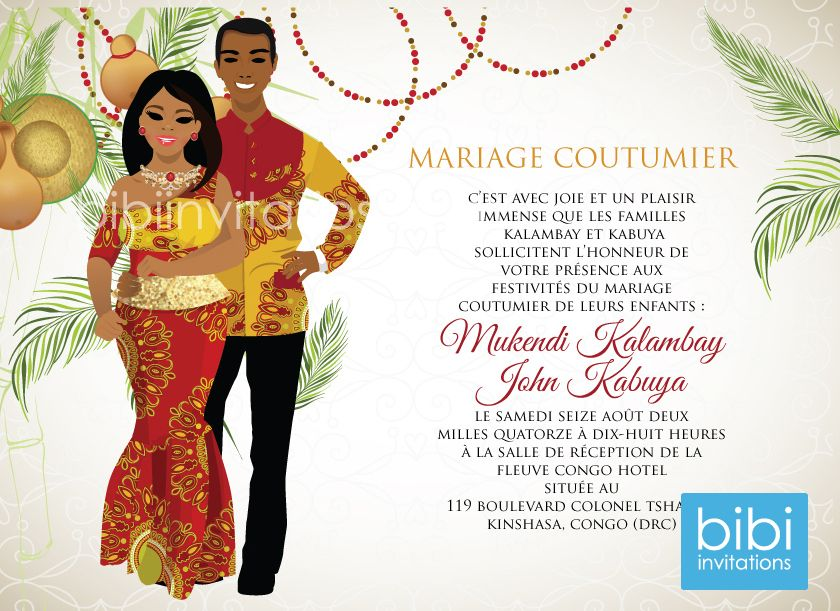 Congo Traditional Wedding Invitation West African Tradional