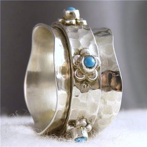 US 9 3/4 ~ 925 Stg Silver SilverSari Daisy/TURQUOISE ~SPIN SPINNER SPINNING RING #Handmade #Spinner #Rings
