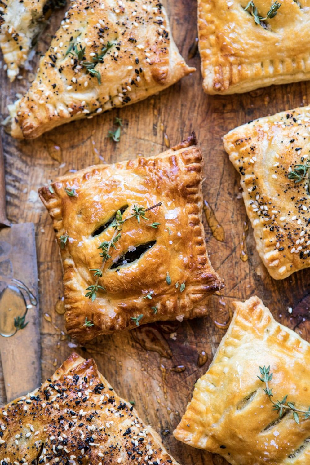 Caramelized Onion Spinach And Cheddar Flaky Pastries