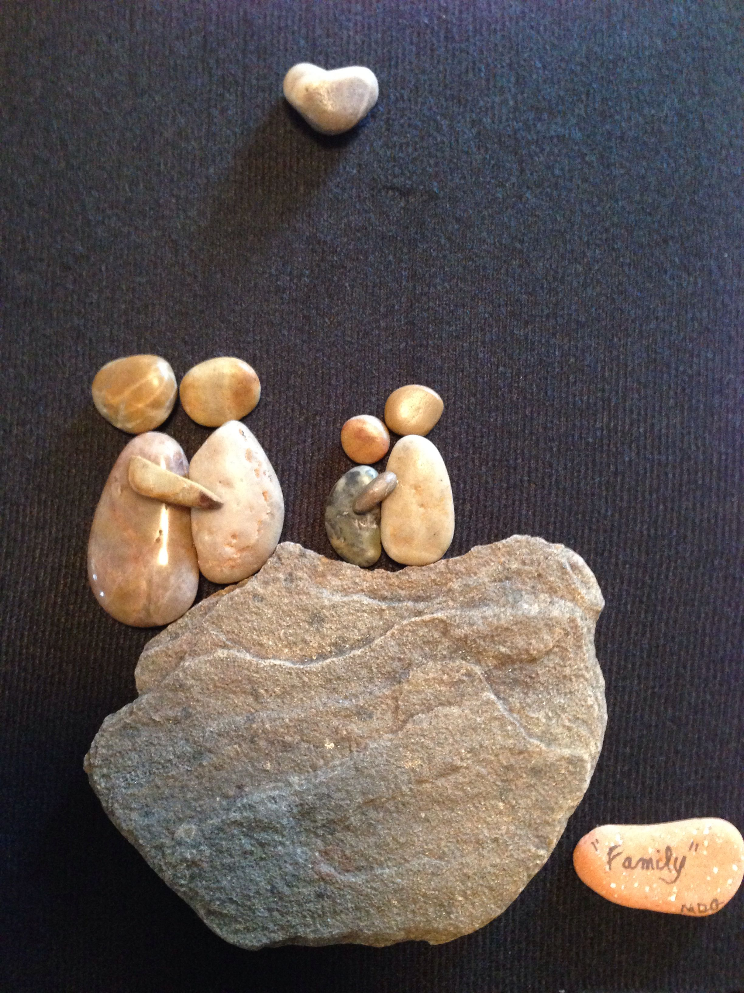 "Pebble art ""Family"" for Jen- my mother in law made this for my sister for Mother's Day!"