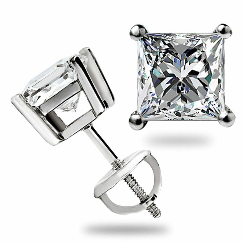 1 CT Princess Cut Created Diamond Square Stud Screw-back Earrings 14K White Gold