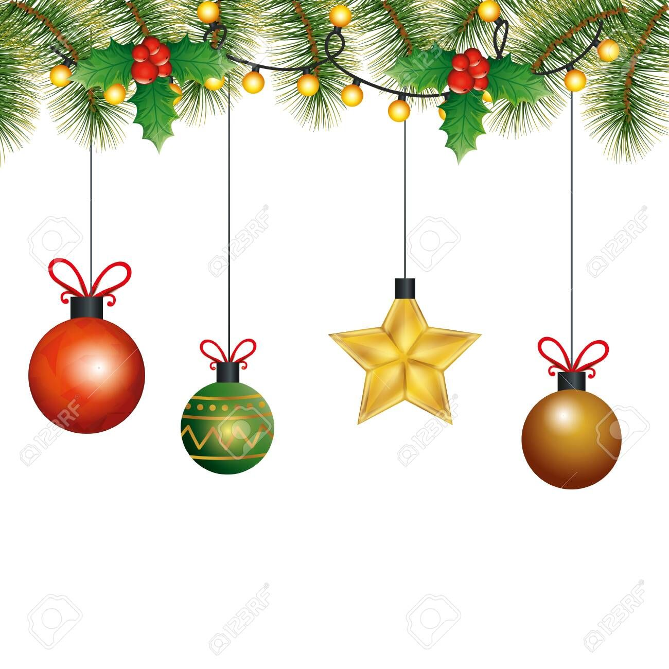 Balls With Star Hanging Christmas Decoration Vector Illustration Design Ad Hanging In 2020 Christmas Hanging Decorations Christmas Decorations Christmas Ornaments