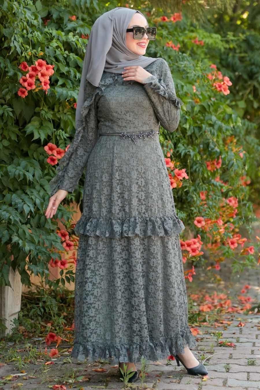Photo of Neva Style – Bead Detailed Khaki Dress 3857HK Source by tesetturi …