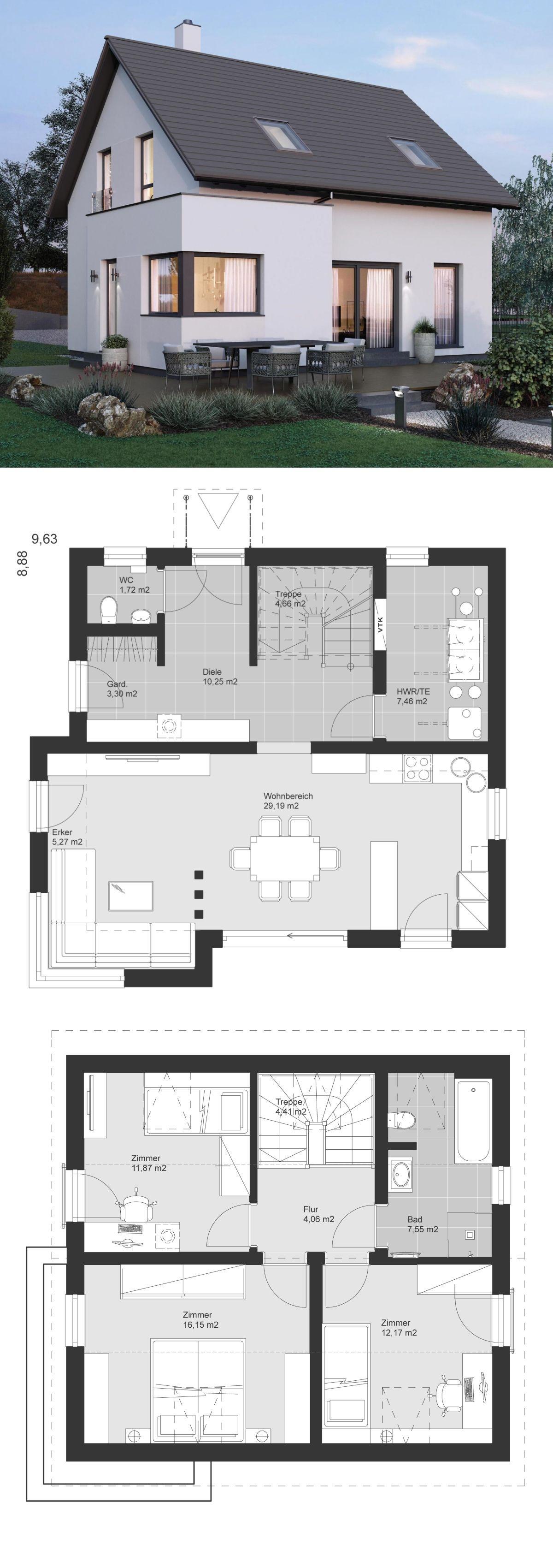 kleines einfamilienhaus architektur modern grundriss mit satteldach architektur erker anbau. Black Bedroom Furniture Sets. Home Design Ideas