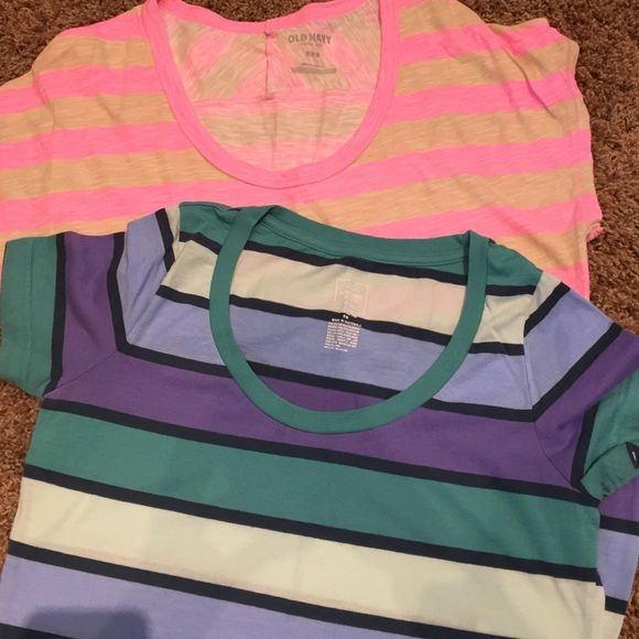 (2) Scoopneck Striped Tee Shirts Multi color is Mossimo Supply Co.     Pink/Tan is Old Navy.  Both gently worn. Old Navy Tops Tees - Short Sleeve