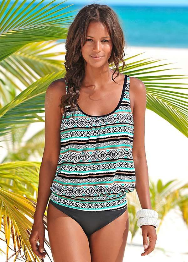 great deals get new entire collection Mint Print 'Wintu' Oversized Tankini Top by LASCANA ...