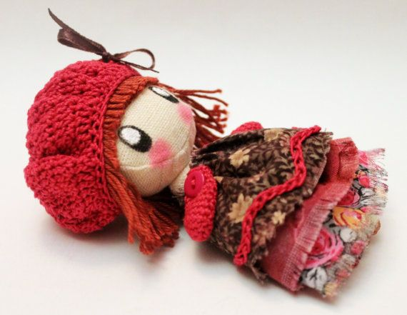 Textile brooch raspberry and brown Frosya  doll brooch  for girl and women