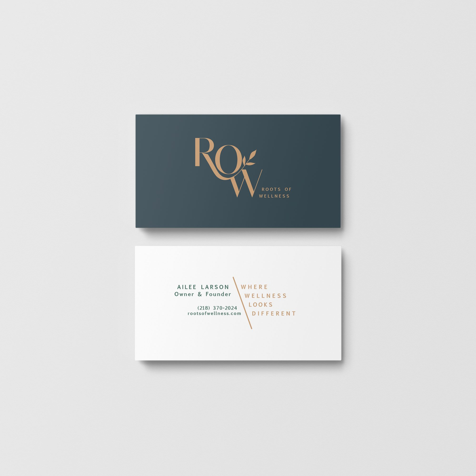 Here Are Some Business Cards For Row Or Roots Of Wellness Love How The Ang Branding Design Studio Business Card Design Creative Brand Identity Business Cards
