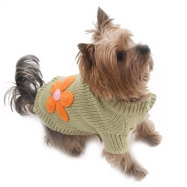 Green Flower Power Knitted Dog Pullover | Christmas | Pinterest