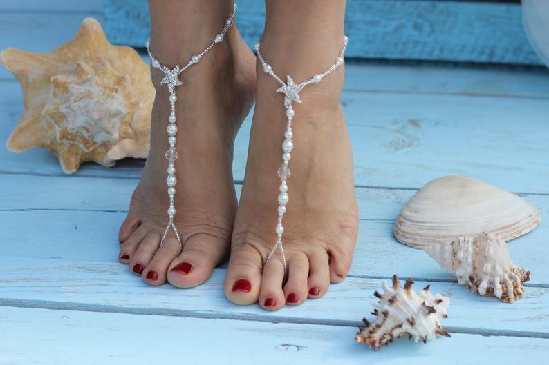 Barefoot Sandals,Bermuda Beach Wedding Barefoot Sandals,Bridal Foot Jewelry,Starfish Barefoot Sandles,Footless sandals,Bridesmaid giftAnklet