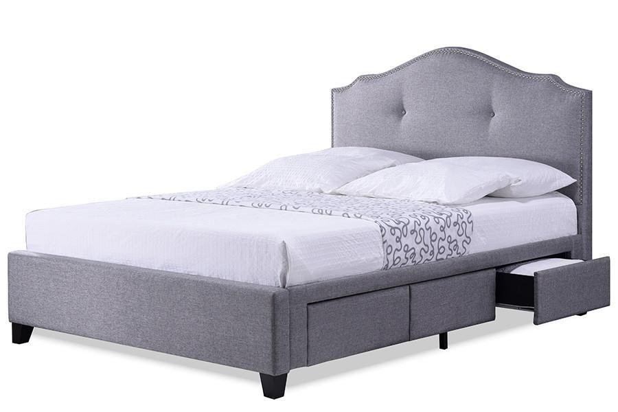 Baxton Studio Armeena Grey Linen Modern Storage Bed With Upholstered Headboard King Size Grey Storage Bed Queen Best Storage Beds Grey Storage Bed