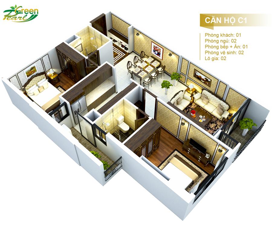 Căn hộ C1, Chung cư Green Pearl  dự án Green Pearl 378 Minh Khai, Vĩnh Tuy, Hai Bà Trưng, Hà Nội.  Hotline : 0969 39 4143