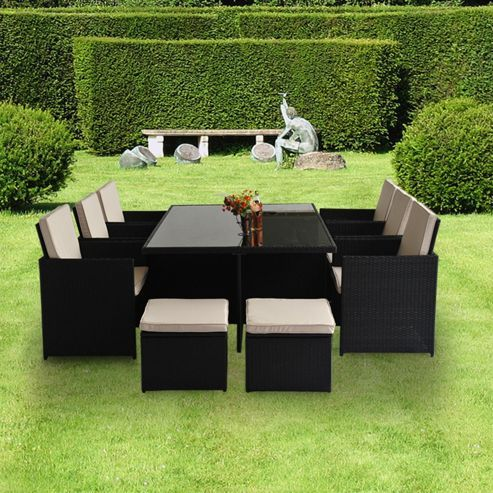 Outsunny pc Rattan Garden Furniture Cube Dining Set Black