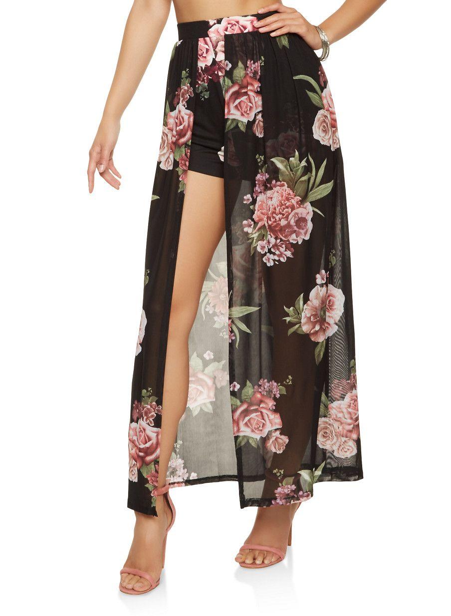 ac09ae6c3a Floral Mesh Maxi Shorts - Black - Size S