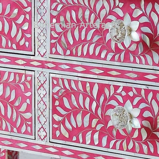 Bone Inlay Dresser Pink Floral Design Chest of Drawers in 2018