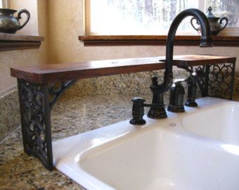 Ornate Over The Sink Shelf Wrought Iron Look Cutout For Faucet