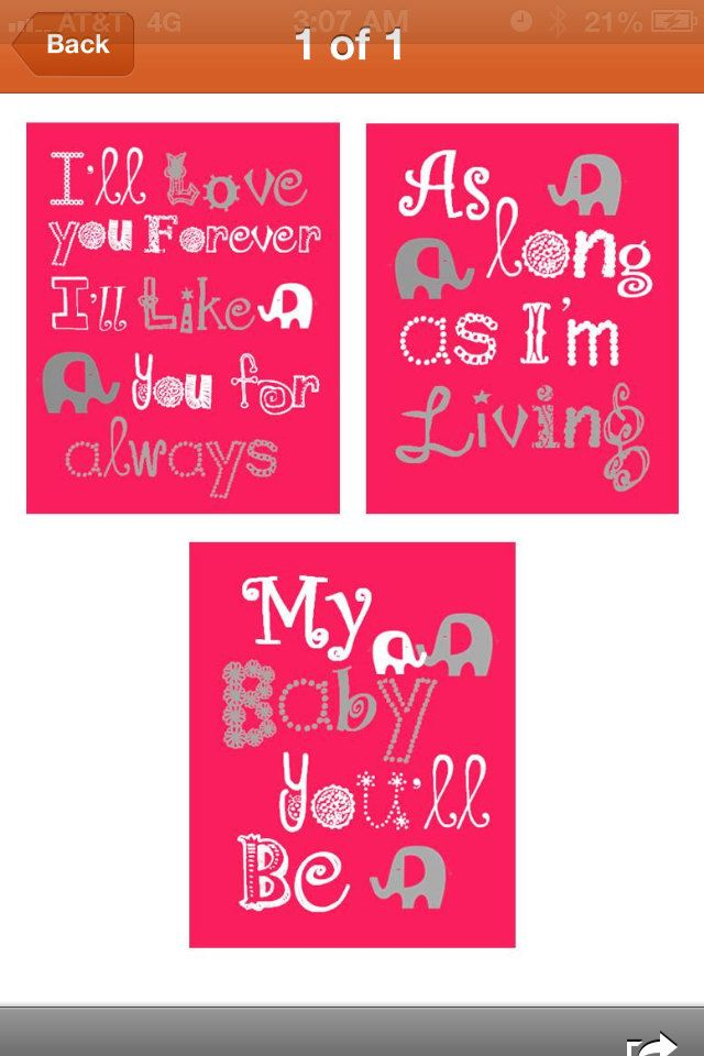 "Kids Art 3-8x10"" Elephant Art Prints for children, I'll love you forever, I'll like you for always, As long as I'm living.... $45.00, via Etsy."