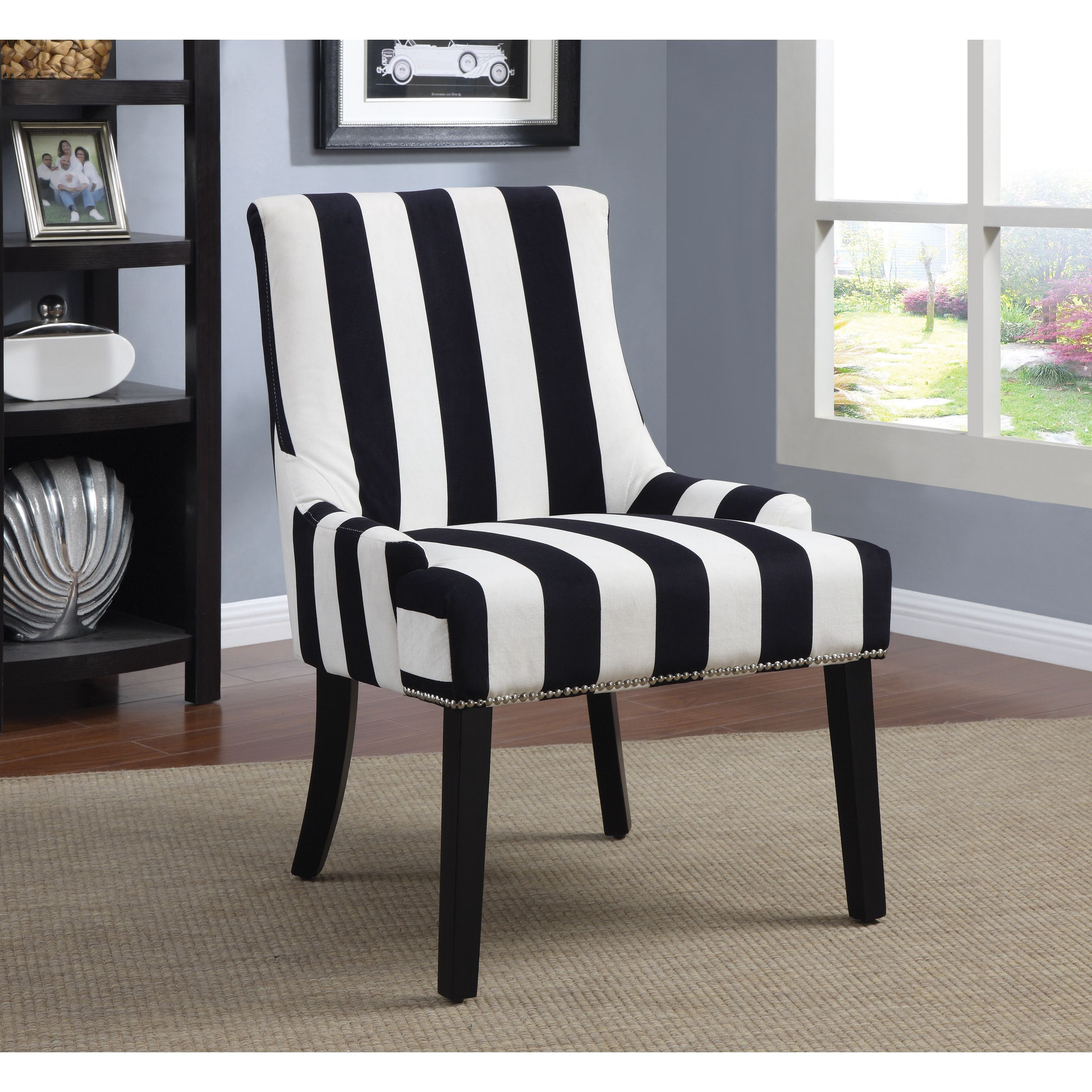 Coaster pany Black and White Striped Accent Chair Black and