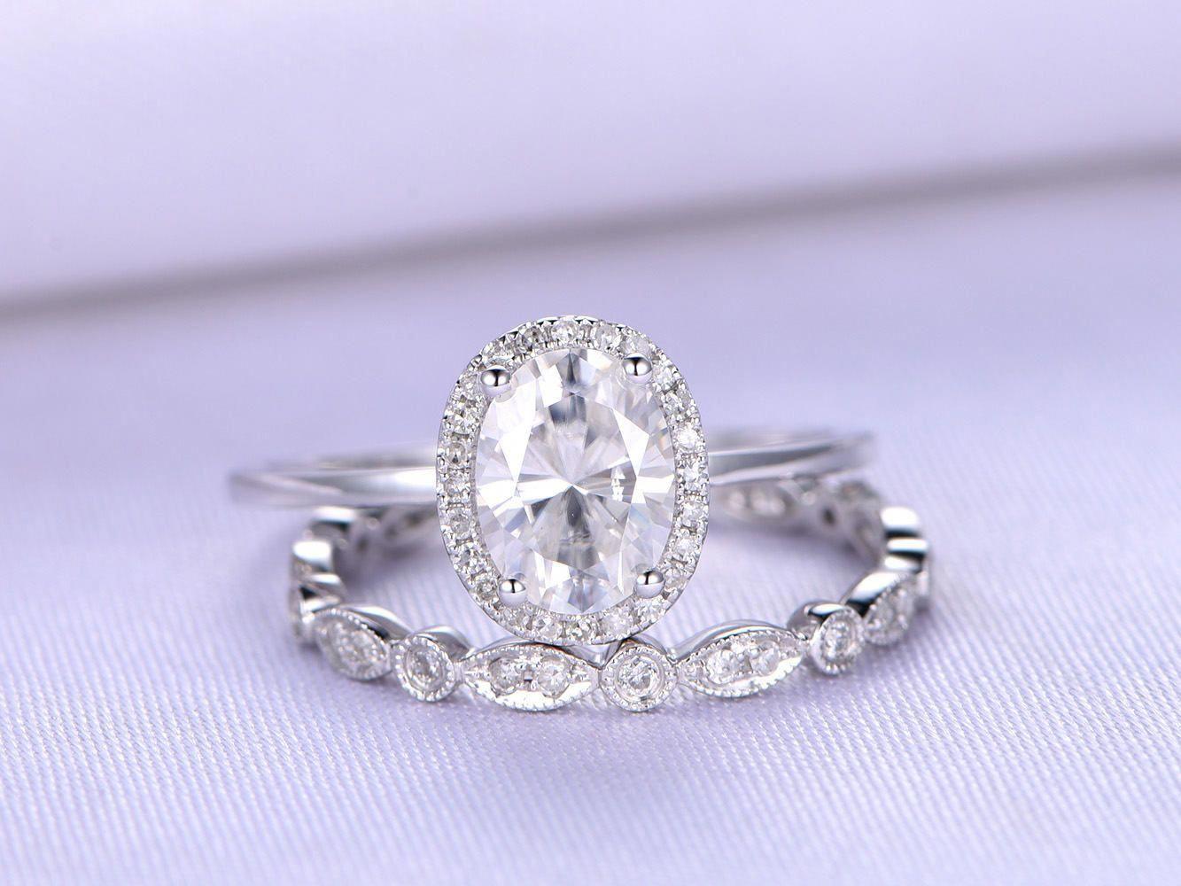 Moissanite engagement ringxmm oval cut moissanite ringk white