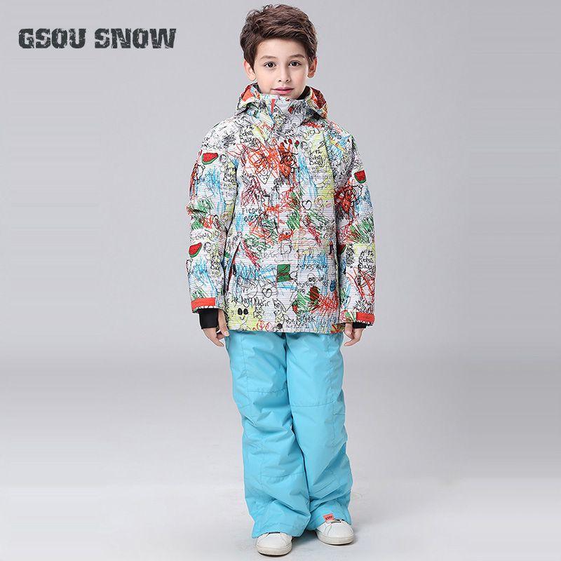 0c567a0b0851 Kids Ski Suit Super Warm Jacket Pant Boys Girls Windproof Waterproof ...