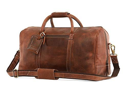 afb810bf9cb2 Leather Carry On Bag – Airplane Underseat Travel Duffel Bags By RusticTown  (Dark Brown)