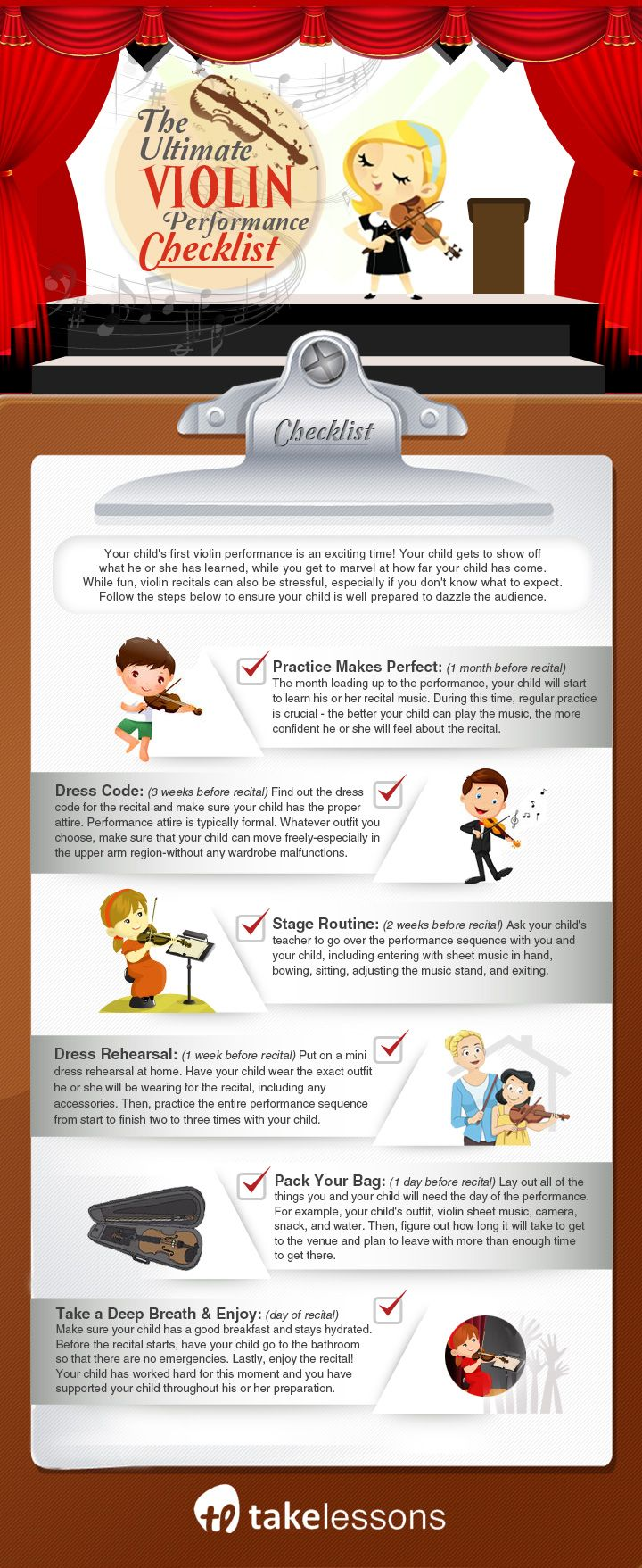 The Ultimate Violin Performance Checklist For Parents Infographic