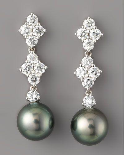 202ab4d65 MIKIMOTO Diamond & Black Pearl Drop Earrings | Jewellery Collection ...
