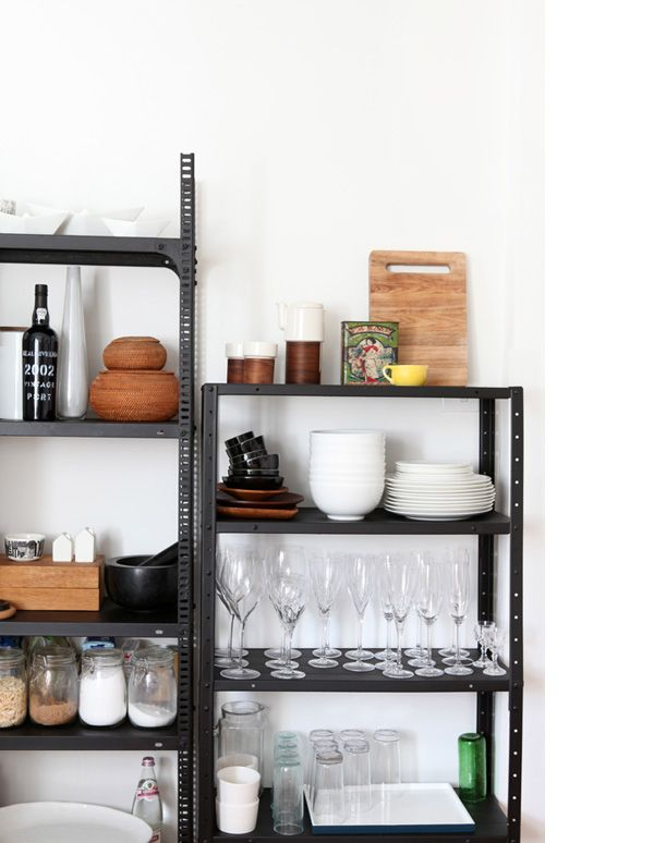 Gemma Cagnacci and Andrew Meehan   Pinterest   Metal shelving     Dining details   Tonfisk tea set on top shelf from Funkis  old Chinese tin  bought in China  lemon cup found at a flea market