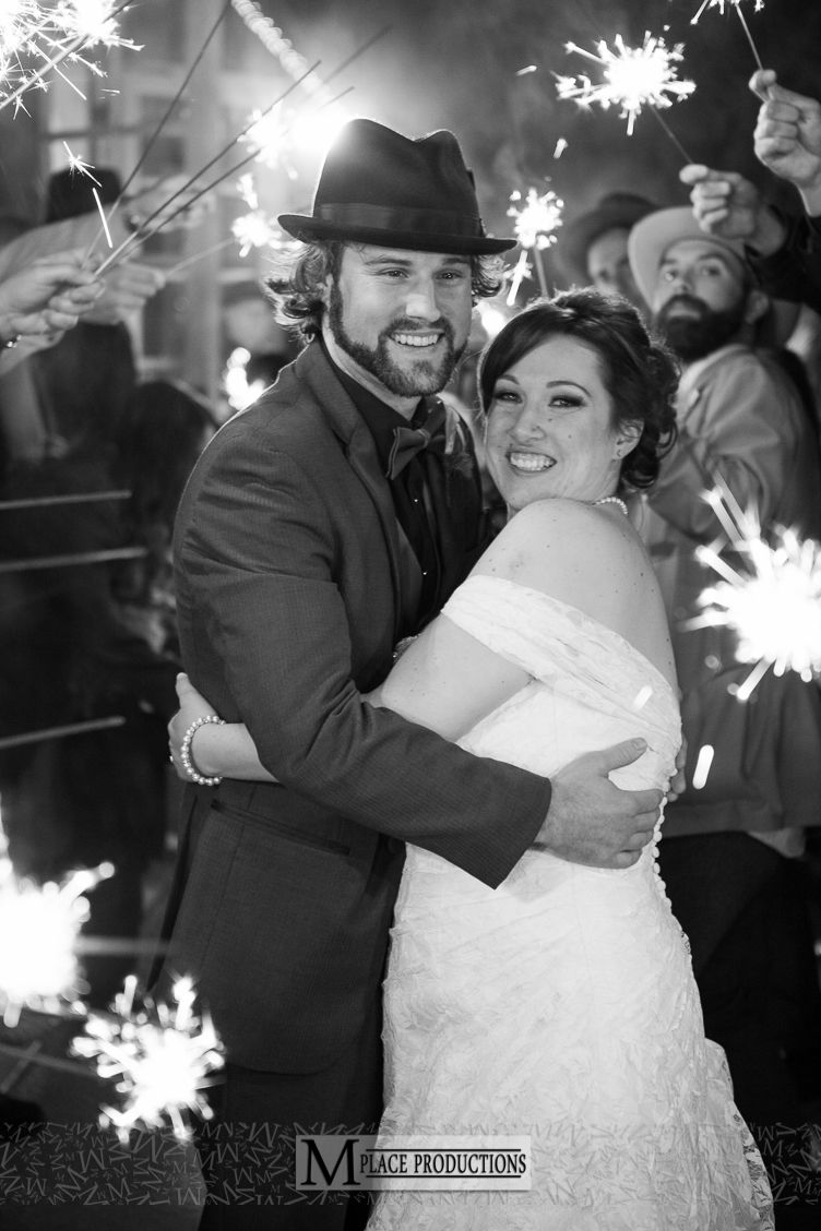 Romantic Couple Bride And Groom Portrait Sparklers