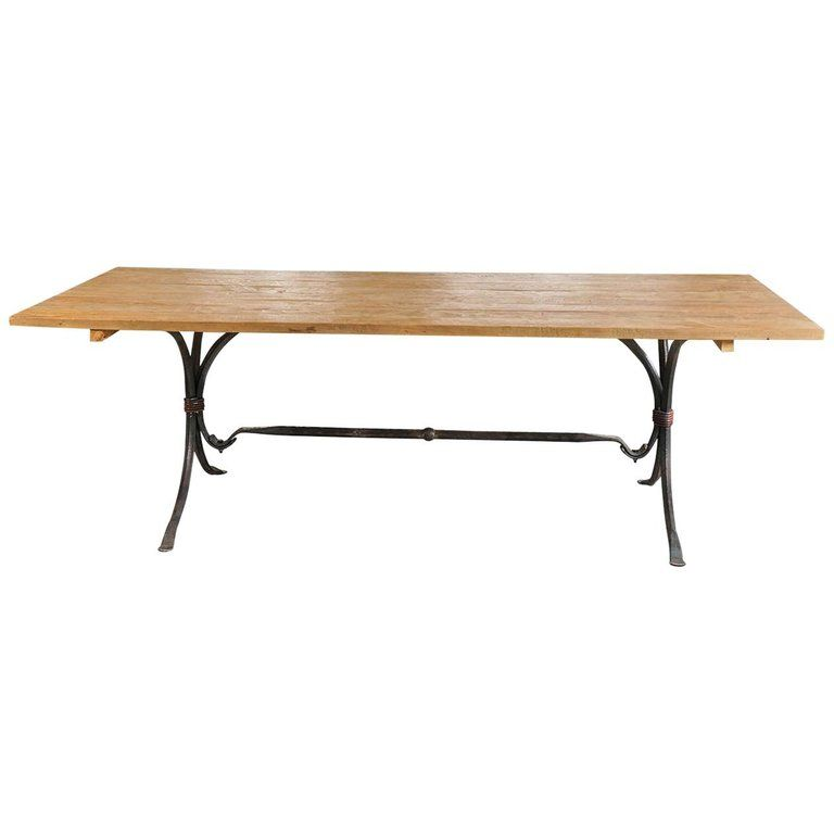 Teak Wood And Wrought Iron Indoor Or Outdoor Dining Table Modern